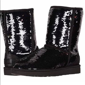 UGG Black Sheepskin Sequin Sparkle Eva Boots Sz 6